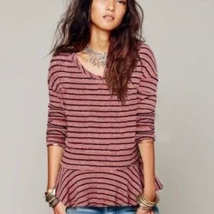 We The Free People Thermal Peplum Striped Top